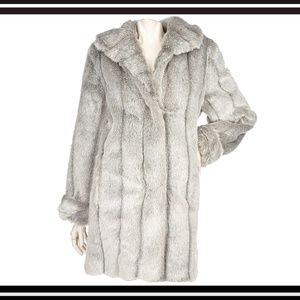 NIB DENNIS BASSO Pelted Faux SABLE Coat (Gray) PS